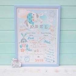Lámina de Nacimiento Bunnys Aviadores Azul