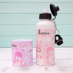 Pack Botella y Taza Bunnys Aviadoras Rosa