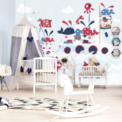 Mural Infantil Bunnys Piratas Azul